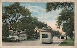 Double Deck Motor Busses on Lincoln Park Drive Postcard