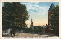 East Market and 6th, Showing Holy Trinity Church and School Postcard