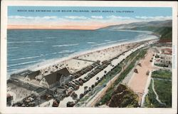 Beach and Swimming Club Below Palisades Postcard