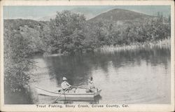 Couple in a Row Boat - Trout Fishing Postcard