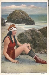 California Bathing Beauty - Wool Swim Dress, Stockings, Beach Boots Postcard