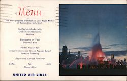 Menu of United Air Lines Flight Kitchen, Paul Sofi, Chef Postcard
