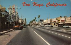 Looking North on Van Nuys Blvd from Victory Blvd Postcard