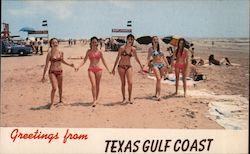 Beach along Texas Gulf Coast - Girls in Bikinis Postcard