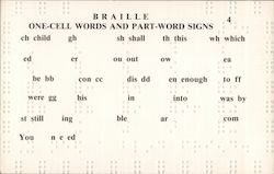 Braille One-Cell Words and Part-Word Signs Postcard