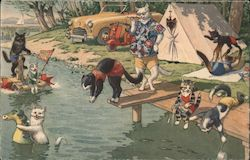 Cats Camping at the Lake - Alfred Mainzer