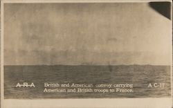 British and American Convoy Carrying American and British Troops to France Postcard