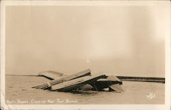1935 Will Rogers Wiley Post Airplane Crash near Point Barrow Alaska Postcard