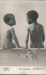 "1901 Photograph of Two Little Boys ""TWO COON BOYS"" Rotograph Series No. A 131 By BURR MCINTOSH Postcard"