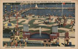 Miniature Golf, Beach and Pier seen from Root Garden Boardwalk in Foreground Postcard