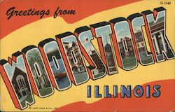 Greetins from Woodstock Illinois Postcard