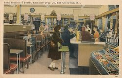 Soda Fountain & Booths, Earnshaw Drug Co. Postcard