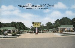 Tropical Palms Hotel Court Postcard