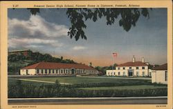 Prescott Senior High School, Pioneer Home in Distance Postcard