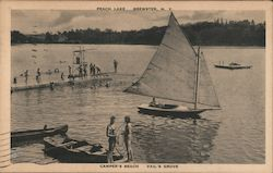 Camper's Beach, Vail's Grove, Peach Lake - Sailboat and Swimmers Postcard