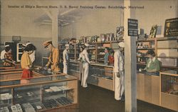 Interior of Ship's Service Store, U.S. Naval Training Center Postcard