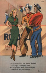 Cowboys Picking Up a Girl - Epic Fail Postcard