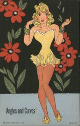 Angles and Curves! - Yellow Lingerie, Red Flowers Postcard