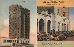 The St. Charles Hotel - Sun Deck Directly on the Boardwalk Postcard