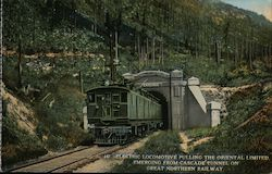 Electric Locomotive, Oriental Limited Emerge from Cascade Tunnel - Great Northern RR Postcard