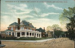 Residence of F.W. Oesting and County Street Looking North Postcard