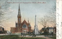Soldiers' Monument and Congregational Church Postcard