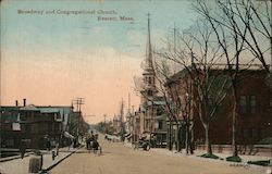 Broadway and Congregational Church Postcard