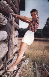 Youth and Old Age - Girl Posing with Log Cabin Postcard