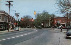 Fairfield Center showing Bank and Library Postcard