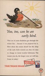 You Too, Can Be An Early Bird Robin Pulling a Worm Postcard