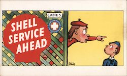Shell Service Ahead Ladies A Home Clean Rest Room Postcard