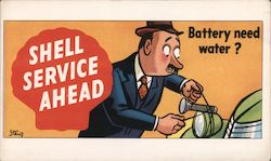 Shell Service Ahead Batter Need Water? Postcard