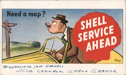 Need a Map? Shell Service Ahead Postcard