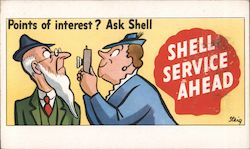 Point of Interest? Ask Shell. Shell Service Ahead Postcard