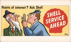Points of Interest? Ask Shell. Shell Service Ahead Postcard