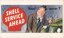 Need Water? Shell Service Ahead Postcard