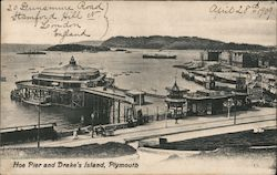 Hoe Pier and Drake Island, Plymouth Postcard