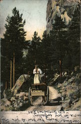 Girl Standing in Back of a Wagon, Traditional Folk Costume Postcard