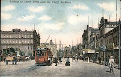 Looking up Queen Street from the Wharf, Auckland Postcard