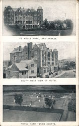 Ye Wells Hotel and Annexe, South West View, Hard Tennis Courts Postcard