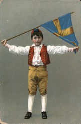 Boy in National Costume with Swedish Flag Postcard