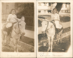 Lot of 2: Girls on Donkey or Mule Postcard