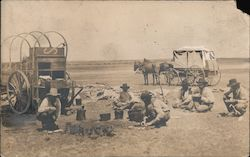 Cowboys Stop to Eat, Chuckwagon Postcard