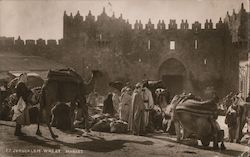 Wheat Market, Camels, City Wall, Damascus Gate Postcard