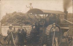 Farmhands and Machinery, Steam Tractor Postcard