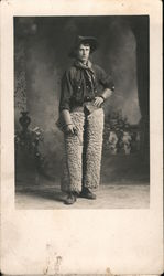 Studio Photo Cowboy with Wooly Chaps Postcard