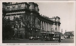 Cable Tram Passing Parliament House, Melbourne, Victoria Postcard