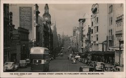 Bourke Street looking towards Parliament house. Postcard