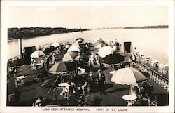 Lido Deck of S.S. Admiral, Steamboat, Mississippi River Postcard