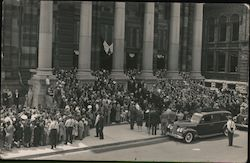 Funeral Procession, Hearse, Crowd at Municipal Building Postcard